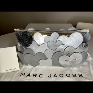 Marc Jacobs Silver Leather Love Story Clutch